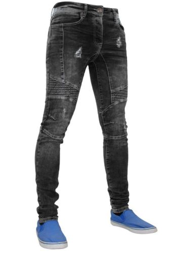 Mens idenim Skinny Slim Tapered Fit Ripped Biker Acid Black Stretchable Denim Jeans